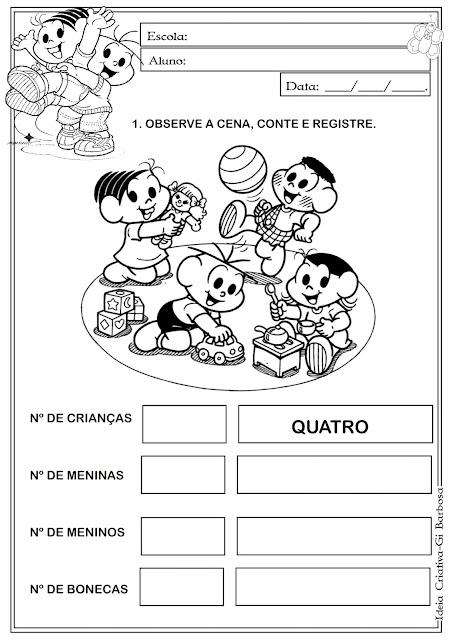 Atividade Matemática Educação Infantil Turma da Mônica