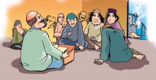duduk ngelmu berkumpul mengelilingi guru untuk belajar dengan khidmat