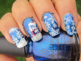 Snowflakes and a Snowman Xmas Nails - AliExpress plates MR-01 & MR-02