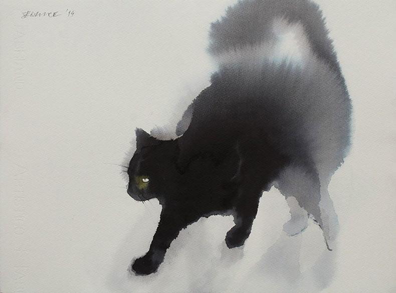 Fantasmagóricos gatos de acuarela y tinta fluyendo sobre el lienzo