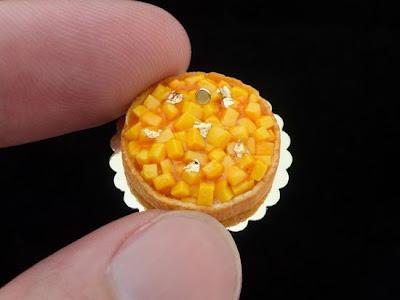 Mango tart miniature food for dollhouse 12th scale