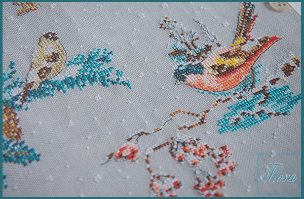 вышивка птички зимой, зимние птицы вышивка крестом