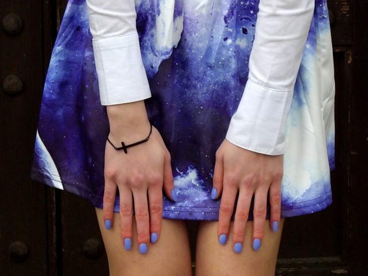 Chicnova Printed Galaxy Skirt Zara Blouse Firmoo Violet Lilac Purple Glasses Forever 21 Black Mary Jane Heels Kiko Lavander Nailpolish 338