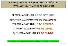 FECHAS DE APLICACION DE EXAMENES