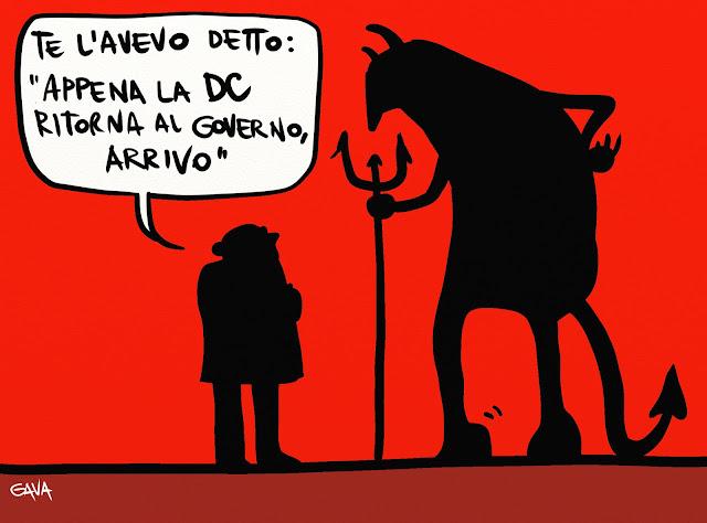 gava gavavenezia satira vignette fumetti caricature presine diavolo andreaotti morto giulio governo dc pc pd pdl pds forca coda corna gobba rosso