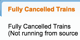 Fully cancelled trains list today Oct 2015