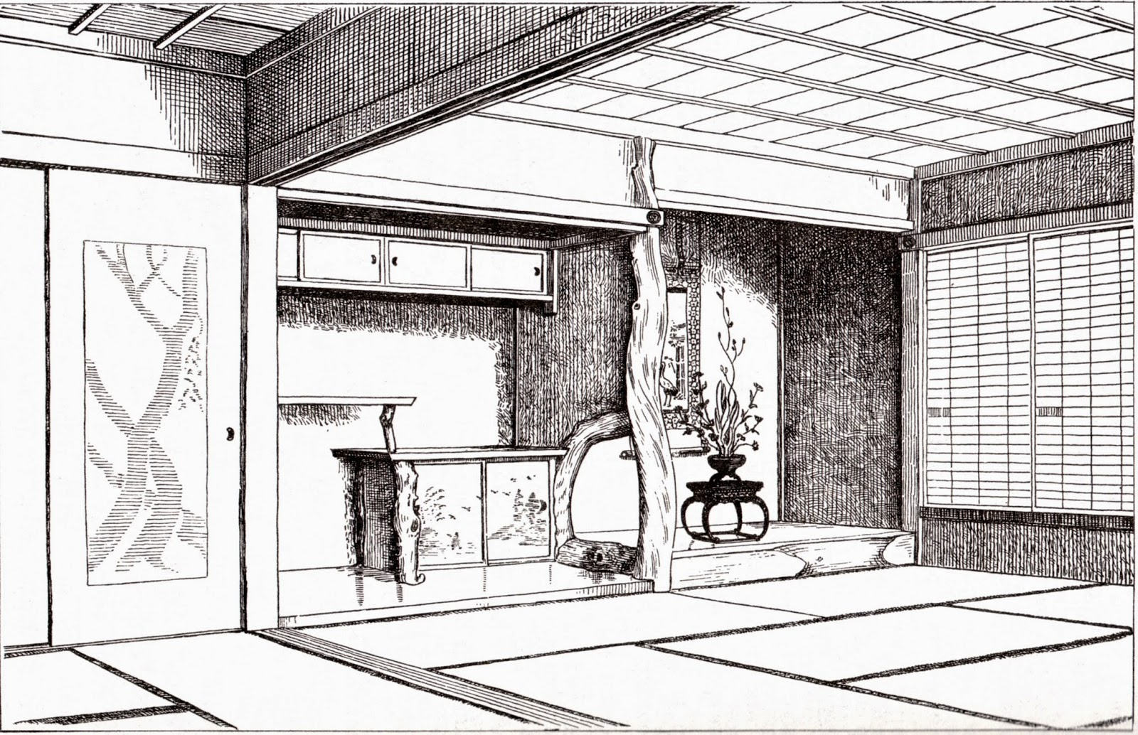 tokonoma dans une pièce japonaise traditionnelle