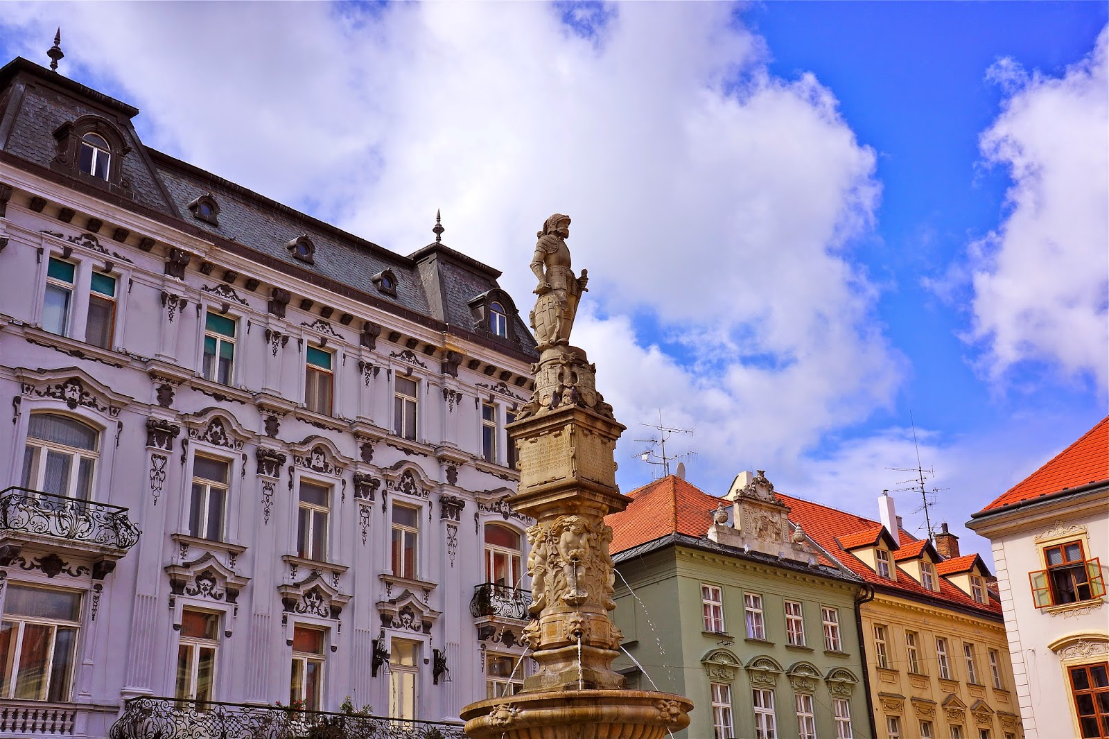 Picture of the Roland fountain in the Main Square of Bratislava.