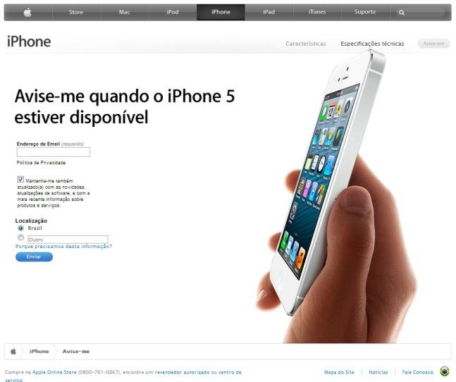 Página de aviso do iPhone 5