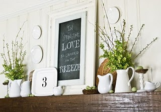 spring fireplace mantel decor
