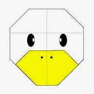 Bước 11: Vẽ mắt, vẽ mũi để hoàn thành cách xếp mặt con vịt bằng giấy origami.