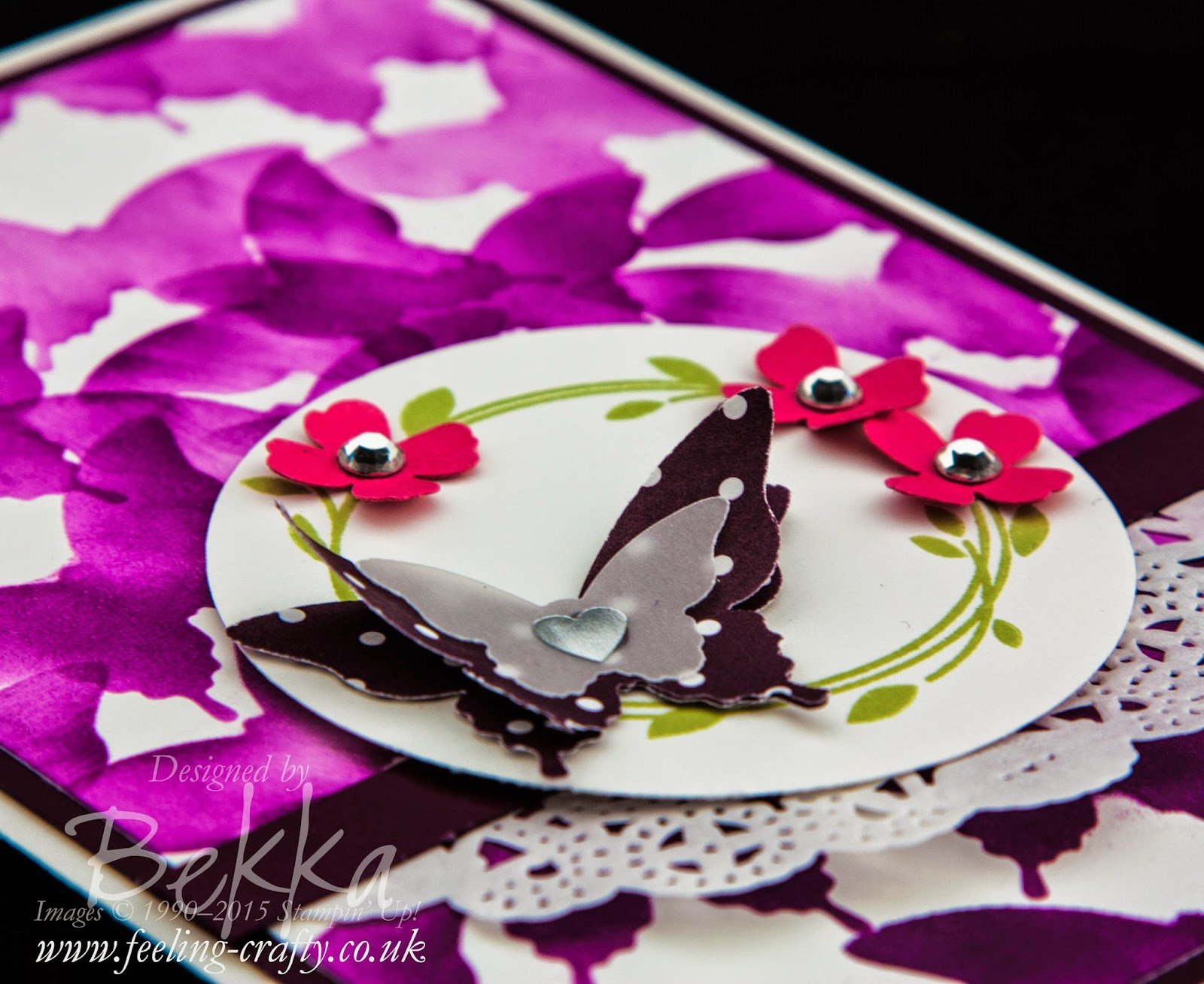 Stencilled Butterfly Card for Any Occasion Using The Elegant Butterfly Punch from Stampin' Up! UK Check out this blog for lots of great ideas