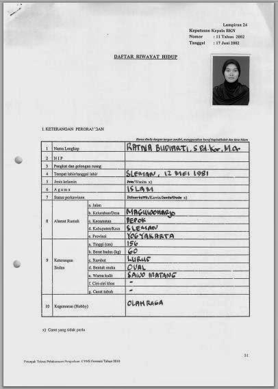 Download Contoh Daftar Riwayat Hidup Drh Persyaratan Cpns 2014