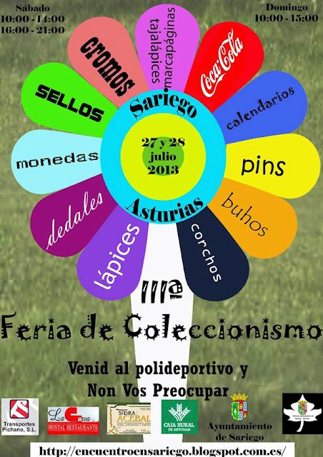Cartel de la 3ª Feria del Coleccionismo de Sariego 2013