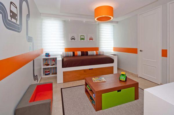 Decoração de quarto de menino laranja