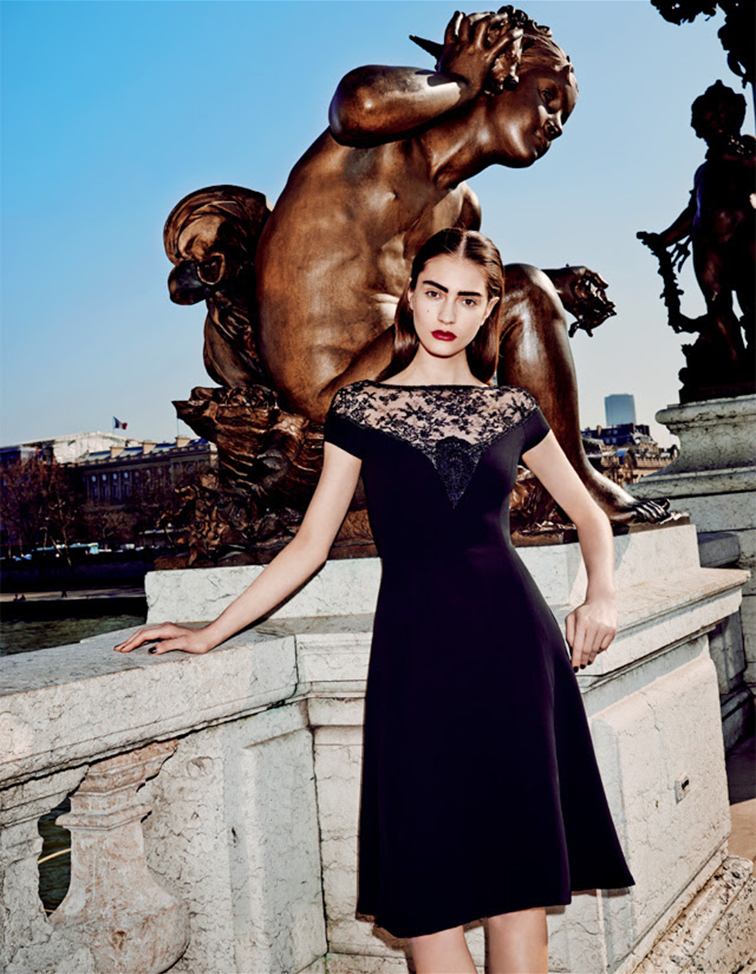 Ralph Lauren collection LBD, black late mini dress, sweetheart neckline, Pont Alexandre III Paris