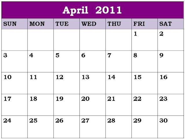 april 2011 calendar. April 2011 Calendar