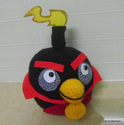 crochet black angry bird