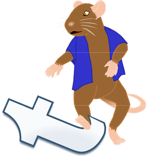 Image: Frank the mouse stops in mid-step and looks in dismay at his foot, which has gotten snagged on a large, shiny, lowercase 't'. Caption: