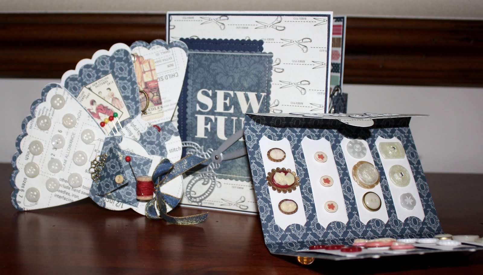 Sewing Box/Antique Button Card, Sewing Fan