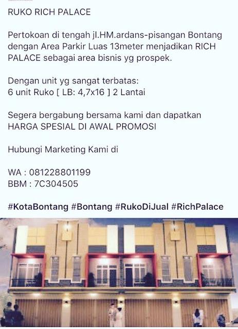 Peluang Investasi : Ruko Rich Palace Bontang