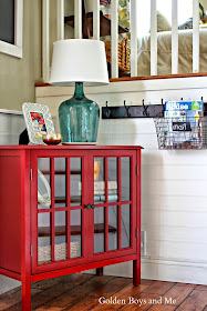 Wire basket to hold mail in entryway-www.goldenboysandme.com
