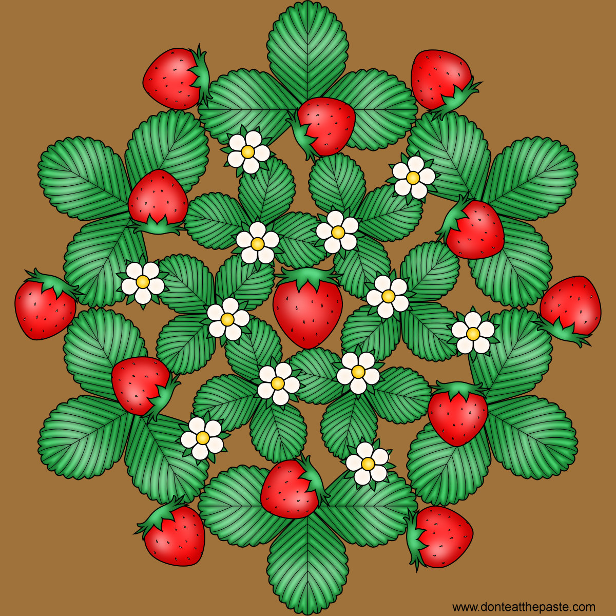 Strawberry mandala- with a blank version to color