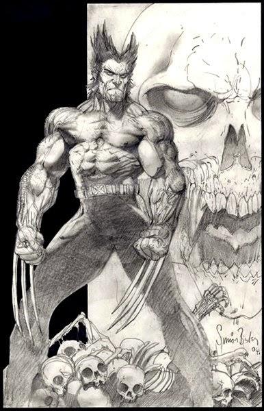 Dessin de Simon Bisley représentant wolverine en noir et blanc