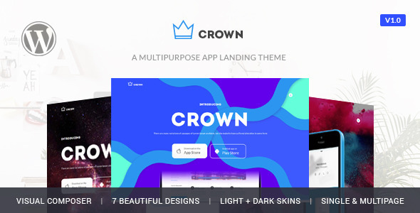Free download latest version of Crown - App Showcase Responsive Wordpress Theme