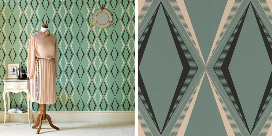 Graham&Brown Deco Diamond Green Wallpaper by Hemingway