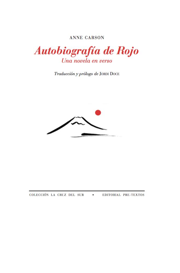 anne carson / autobiografía de rojo