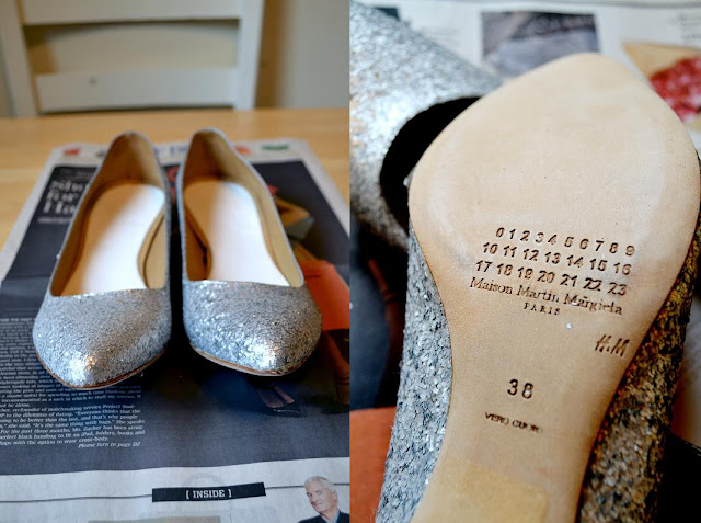 shoes, designer, in style, maison martin margiela, glitter, fleur d'elise