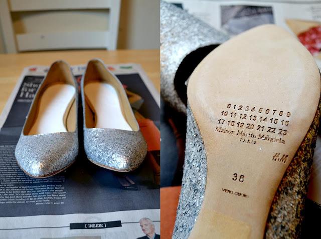 shoes, designer, in style, maison martin margiela, glitter, fleur d'elise