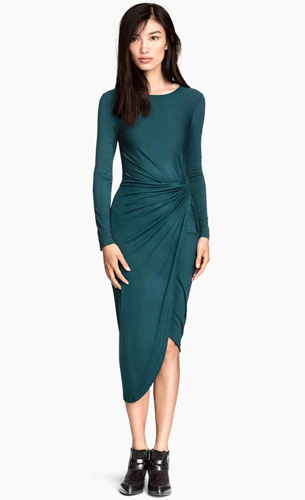 vestido drapeado H&M otoño invierno 2015 2016