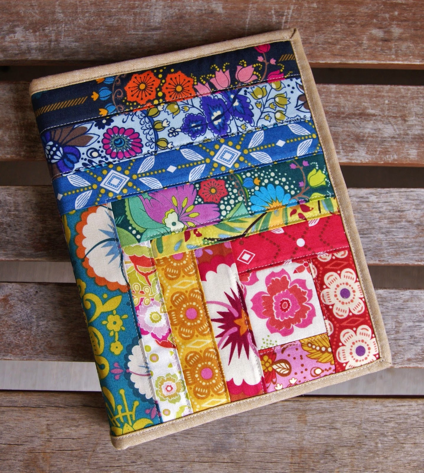 How To Make A Quilted Book Cover ~ Fabric mutt folk song notebook cover