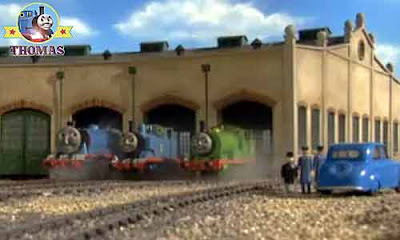 Blue car the Fat Controller roundhouse at Tidmouth Gordon Thomas and friends Percy the tank engine