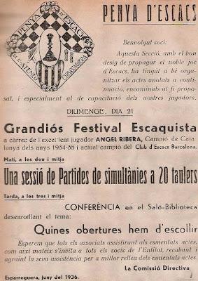 Cartel de actividades ajedrecísticas en Esparreguera 1936