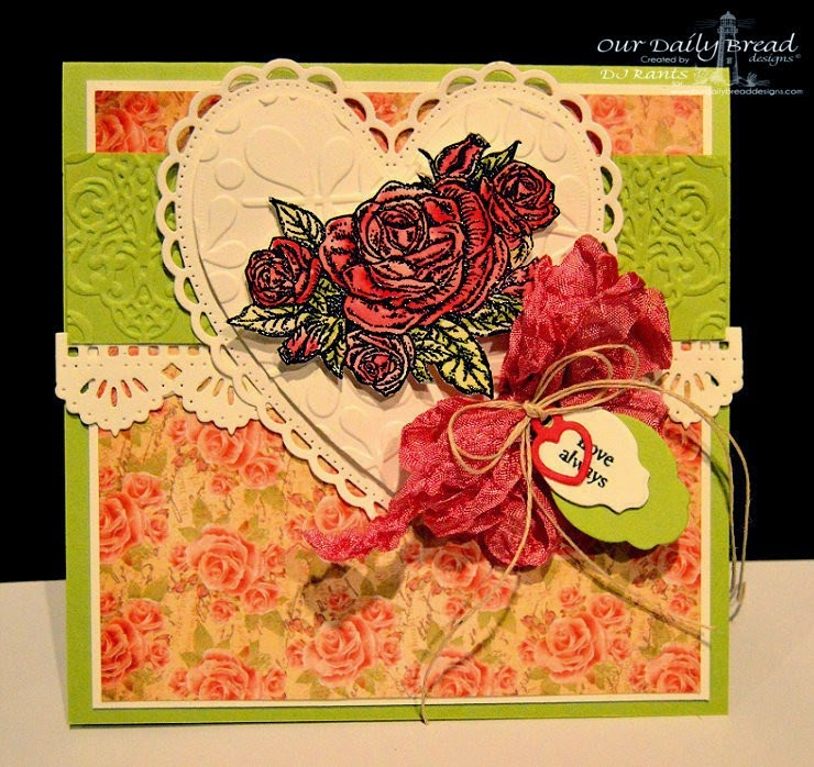 Our Daily Bread Designs, Ornate Heart Dies, Beautiful Borders, Mini Tag Dies, Mini Tag Sentiments, Smell the Roses, Blushing Rose Paper Collection,Designed by DJ Rants