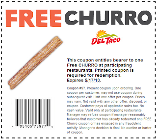 Free Churro at Del Taco coupon