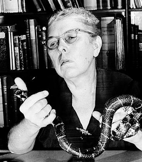 Doris Mable Cochran holding a snake