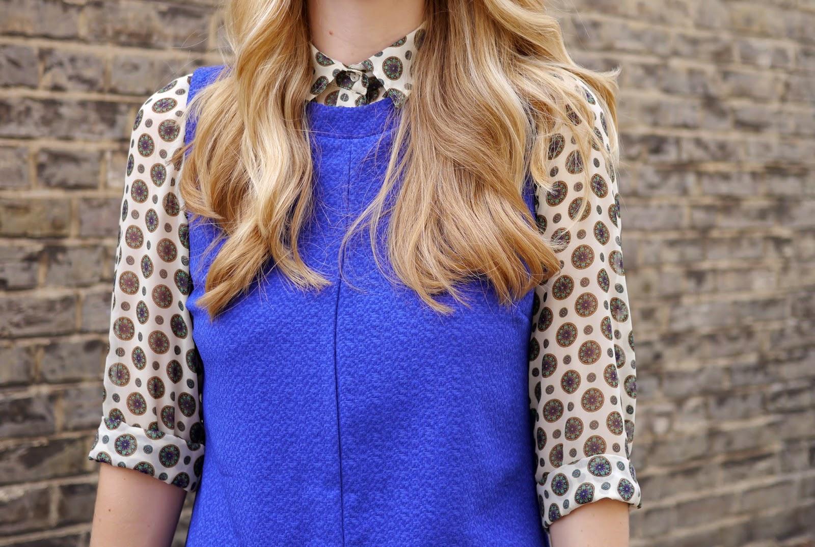 New Look Blue High Neck 60s Shift Dress, Zara Patterned Shirt
