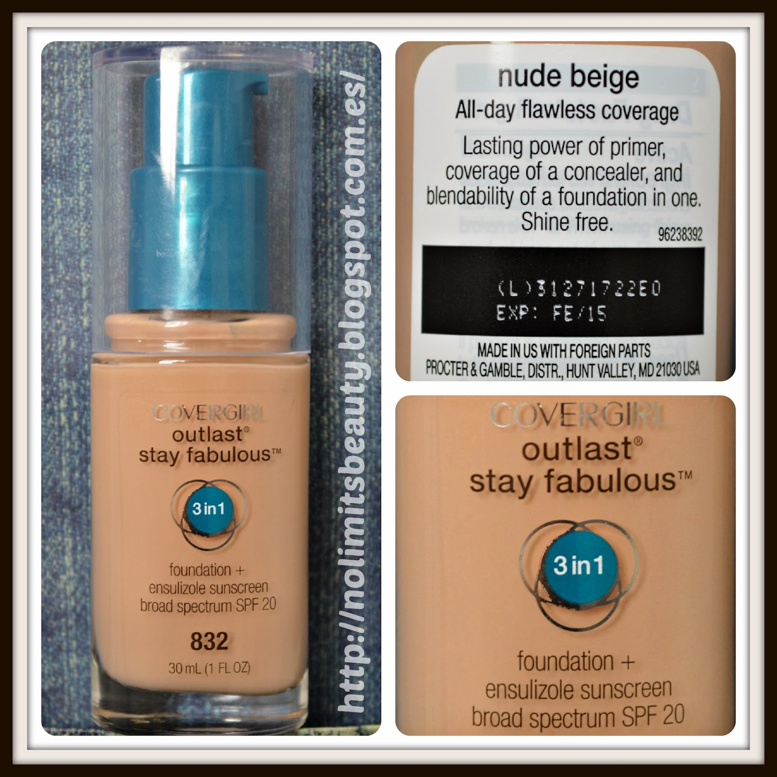 Covergirl Outlast Stay Fabulous Foundation en 832 Nude Beige
