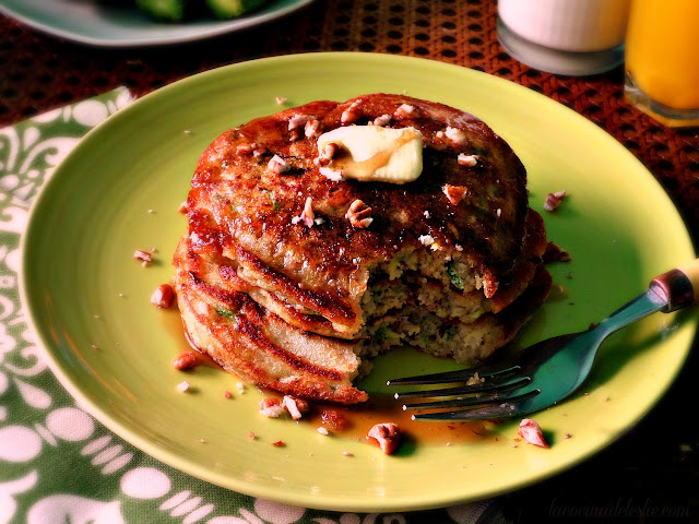 Zucchini Bread Pancakes with pecans - lacocinadeleslie.com