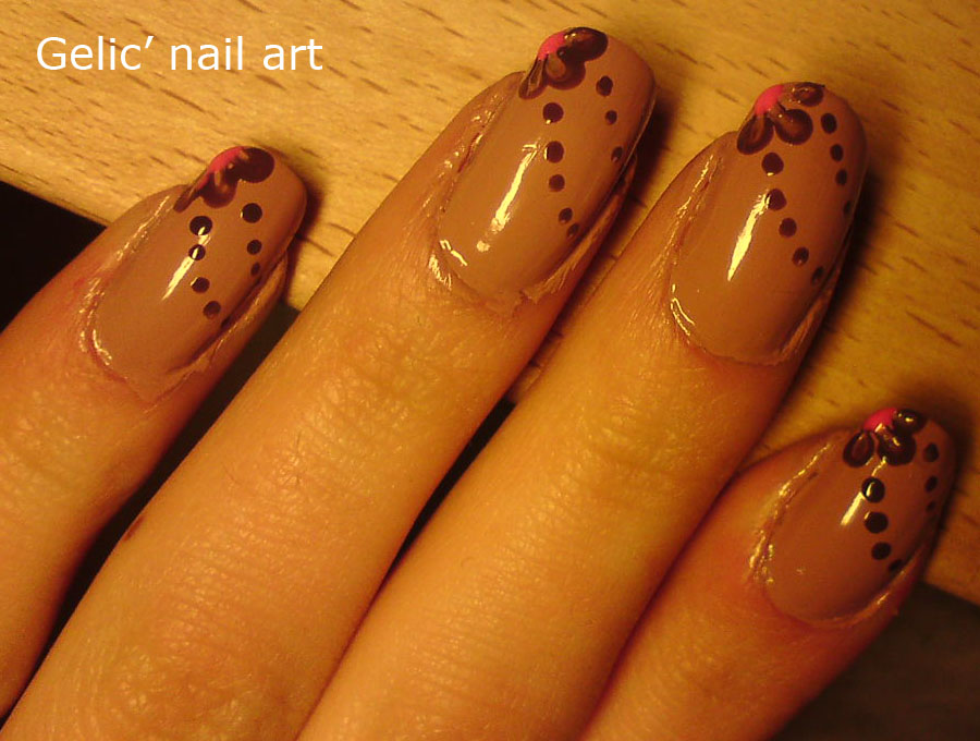 Gelic Nail Art Flowers And Dots Nail Art Over Nude Polish
