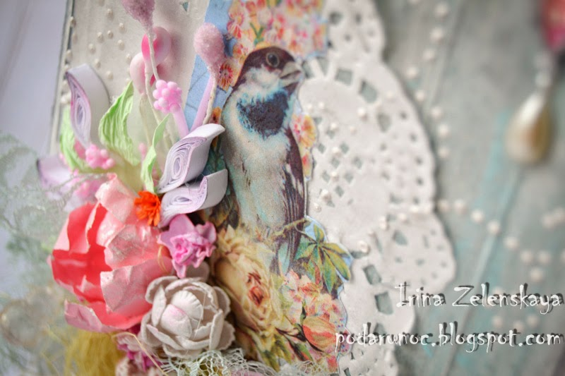 открытка 8 марта птицы цветы
