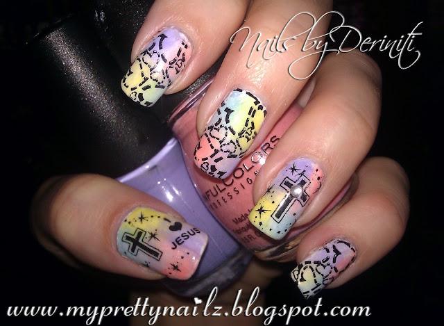 ... Nail Art, Christian Nail Art, Resurrection Day Nail Art, Cross Nail