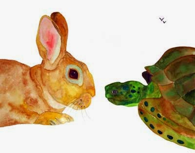 Hare And Tortoise Watercolour Picture, Artist Unknown