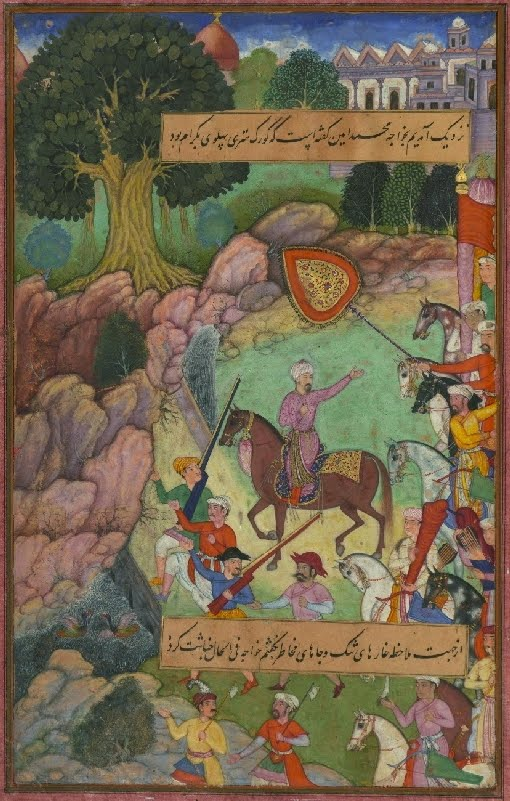 Islamic manuscript painting; rural setting, sultan on horseback