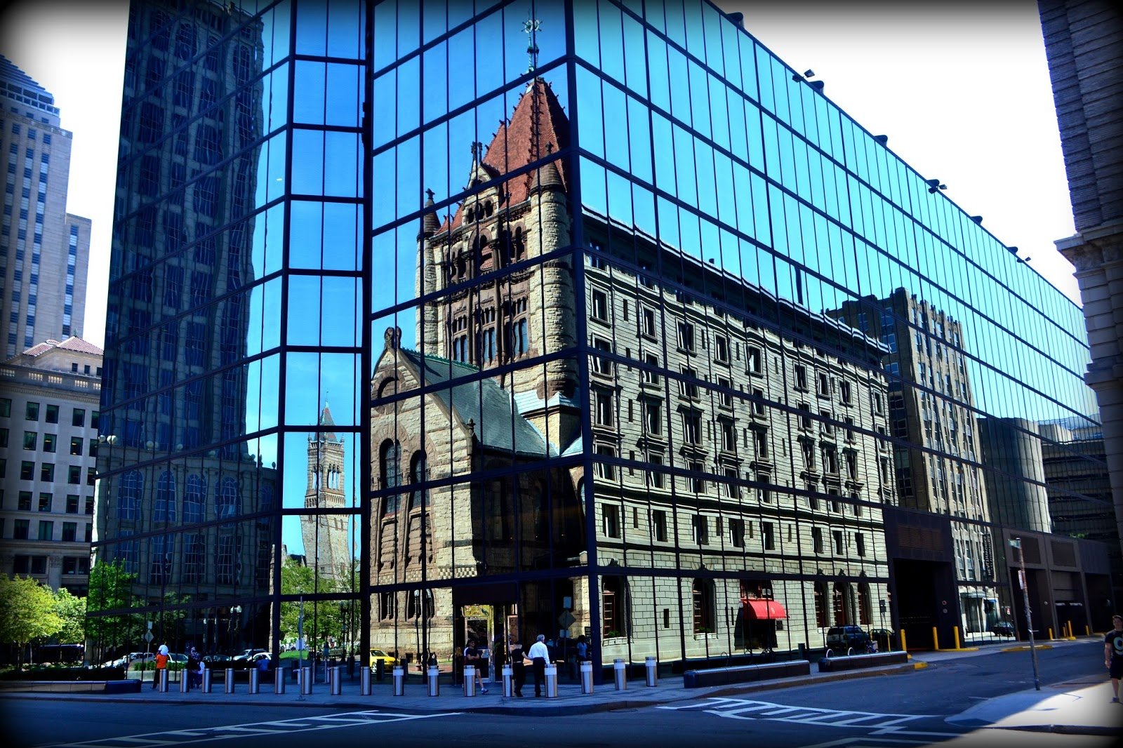 hancock, tower, copley, square, boston, massachusetts, reflections