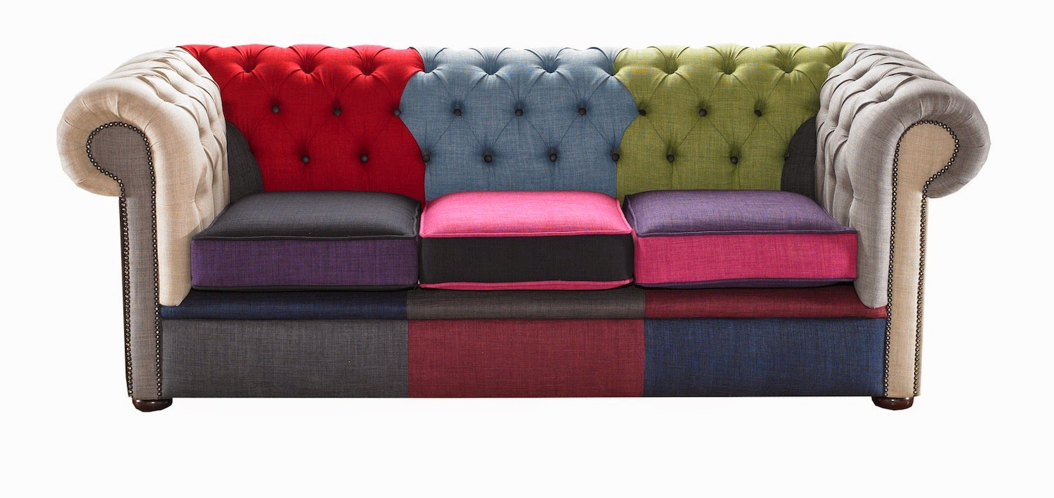 Patchwork Linen velvet chesterfield sofa